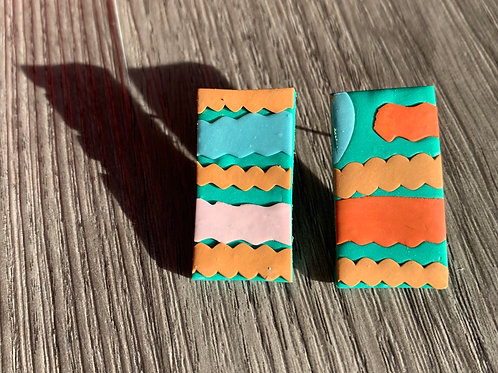 Zig Zag Rectangle Earrings