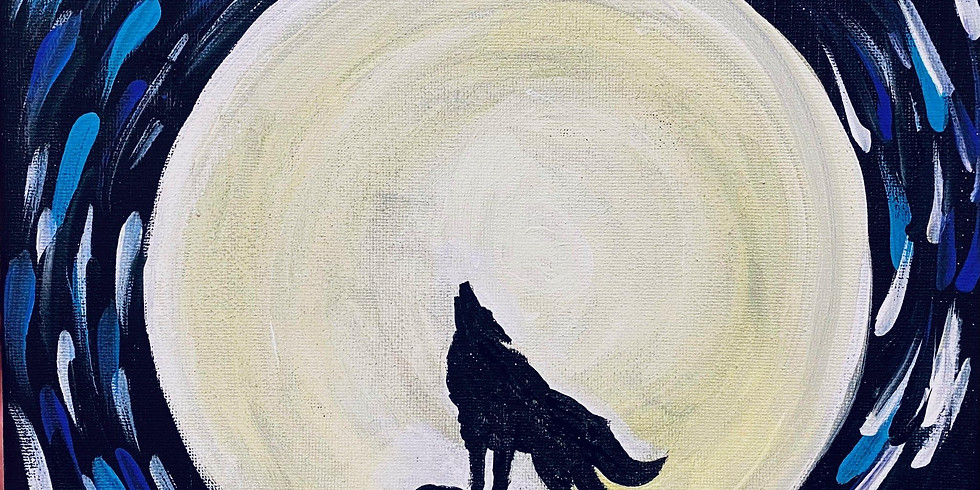 Virtual Wolf Moon Canvas Painting Class for Grown Ups