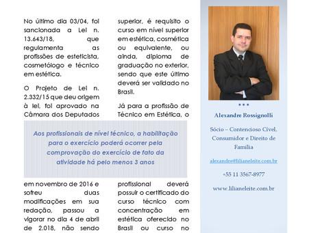 REGULAMENTAÇÃO DAS PROFISSÕES DE ESTETICISTA, COSMETÓLOGO E TÉCNICO EM ESTÉTICA