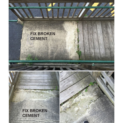 (Detailed view of the cement pad ramp of the North Wheelchair ramp) The handicap ramp is still a solid construction but after 20 years in place, portions o fthe ramp are starting to deteriorate and shift. The cement ramp pad has started to crumble and crack, the structure has been hit and been knocked off it's footings. By rebuilding the structure with some modifications including extending the first switch back landing one additional foot to better accomodate wheelchair users along with providing automatic push-button door openers. Other modifications inside the doorway will add to the independent accessibility.