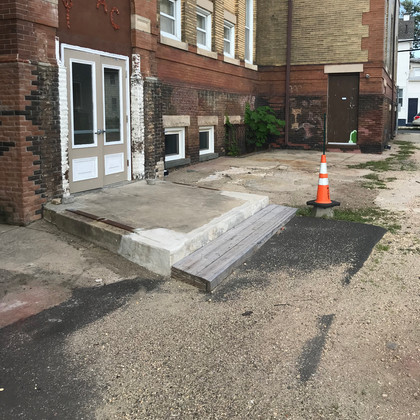 Profile view to show height of cement slab step