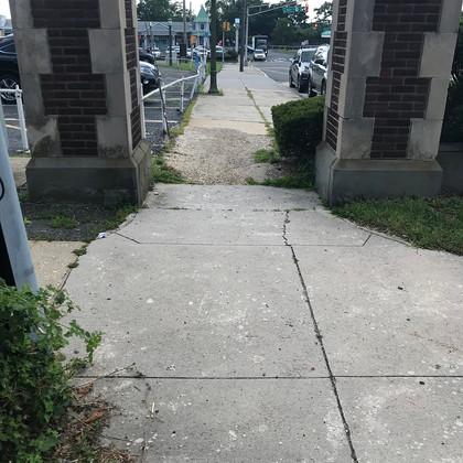 Main Avenue sidewalk repair view from Lawrence Avenue corner looking west