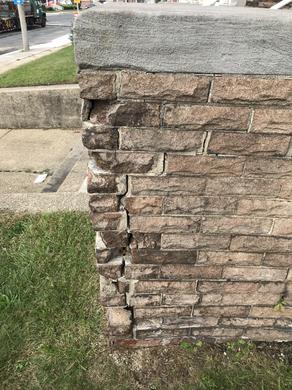 Close up view of brick work