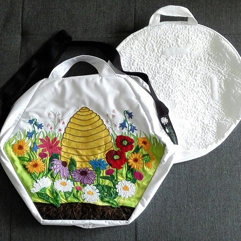 Shamanic Drum Bag with Flowers and Bees