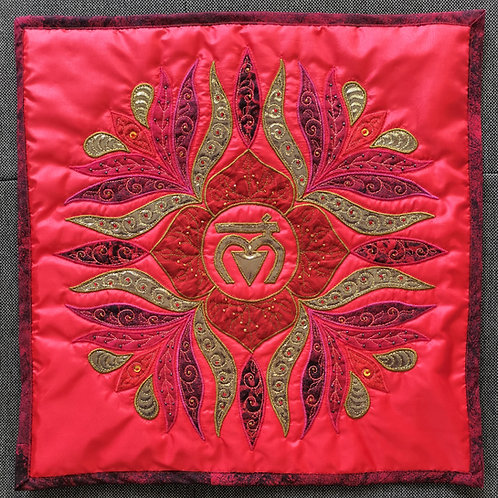 """1. Root Chakra Mandala"" Pillow / DST-pattern w. interfacing"