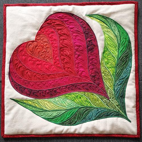 """""""Heart Flower"""" Pillow / DST-pattern w. interfacing"""