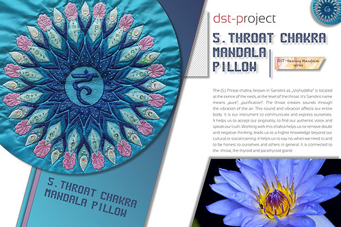 """""""5. Throat Chakra Mandala"""" Pillow / DST-pattern"""