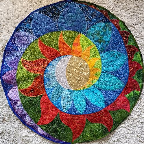 """Sun & Moon Spiral Mandala"" / DST-pattern w. interfacing"