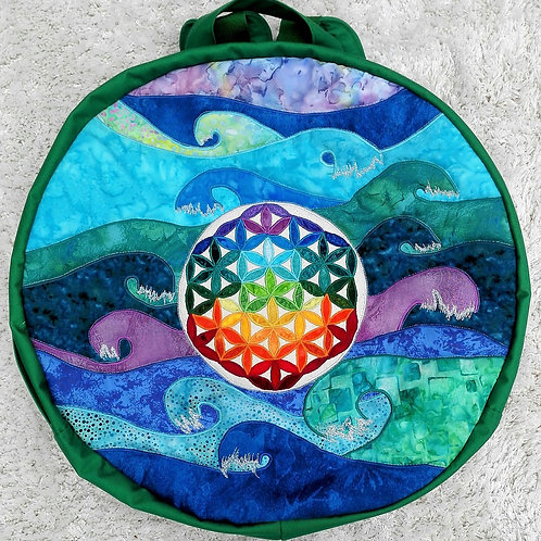 Round Shamanic Drum Bag with Ocean and Flower of Life