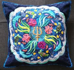 Aqua Mandala Pillow