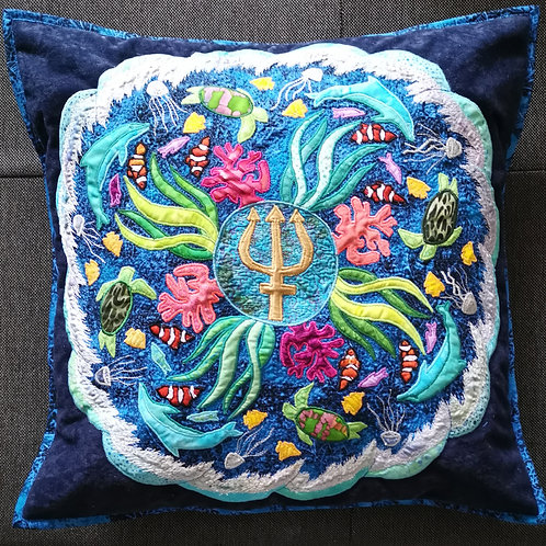 """Aqua"" Mandala Pillow / DST-Kit"