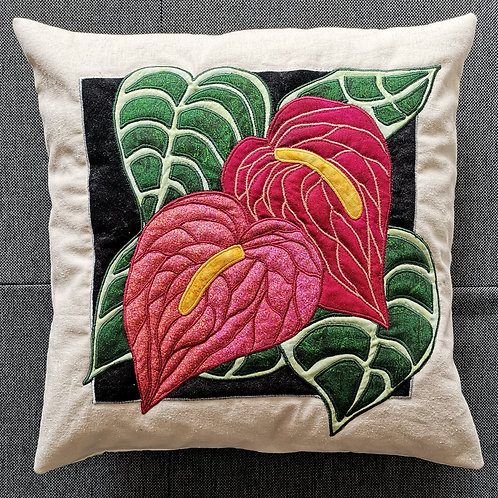 """Flamingo Flower"" Pillow / DST-Kit"