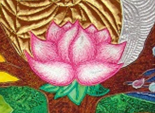 Thread painting flowers and animals
