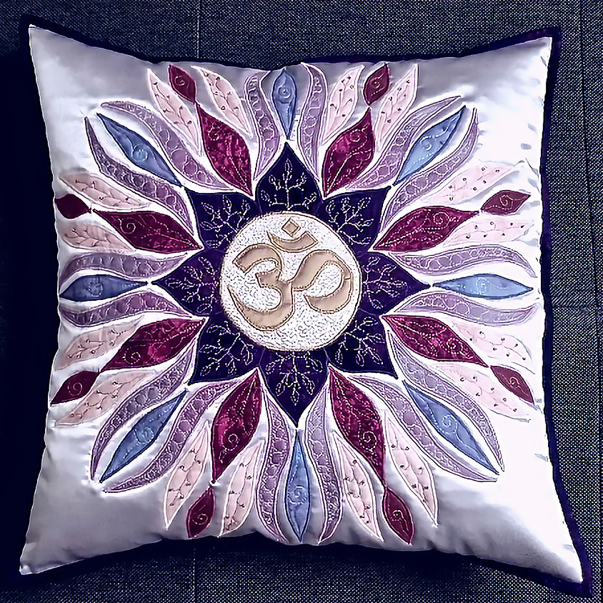 OM Mandala Pillow with the Draw-Sew-Trim technique
