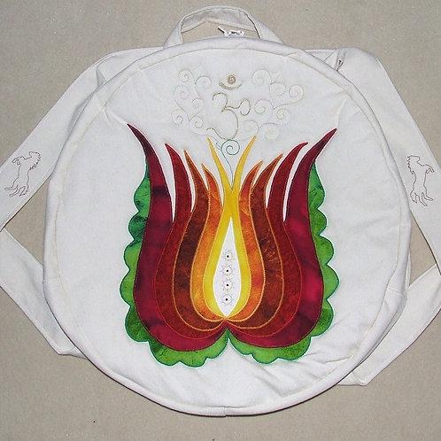 Round Shamanic Drum Bag with Tulip