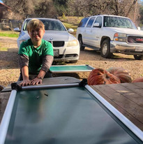Cameron putting together new dog beds