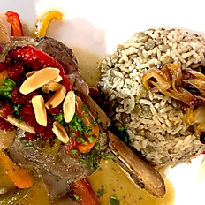 Lamb shanks with mujaddarah