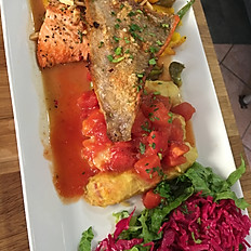 Steelhead trout with cabbage rolls