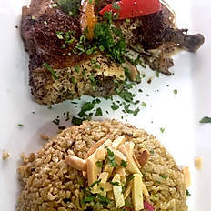 Slow-baked chicken with freekeh
