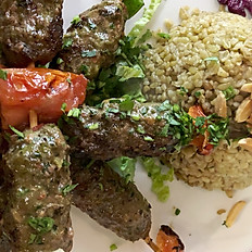 Lamb kebab with freekeh