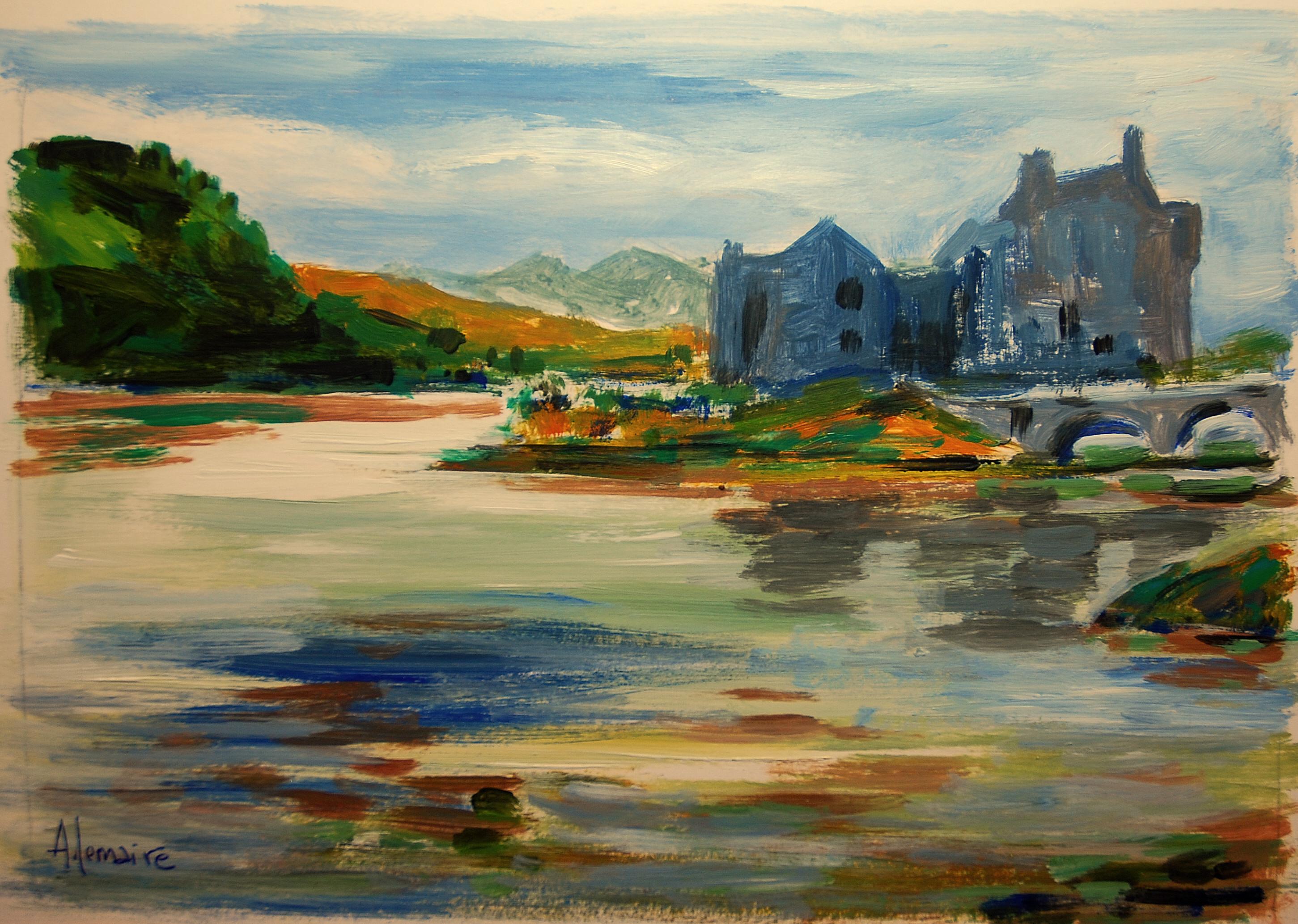 Loch et château en Ecosse