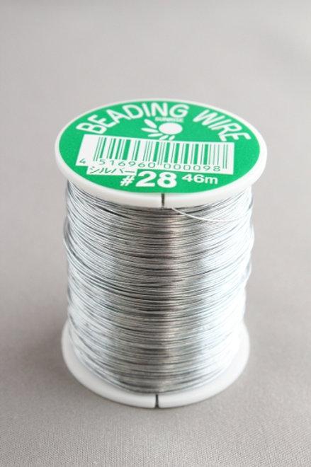 糸針金(ビーディングワイヤー)シルバー巻きワイヤー#28