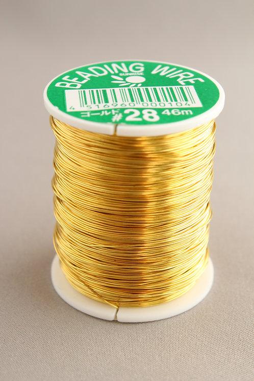 糸針金(ビーディングワイヤー)ゴールド巻きワイヤー#28