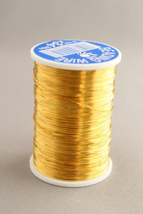 糸針金(ビーディングワイヤー)ゴールド巻きワイヤー#34