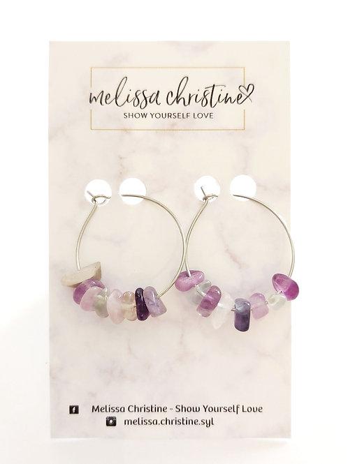Purple Gemstone Hoop Earrings