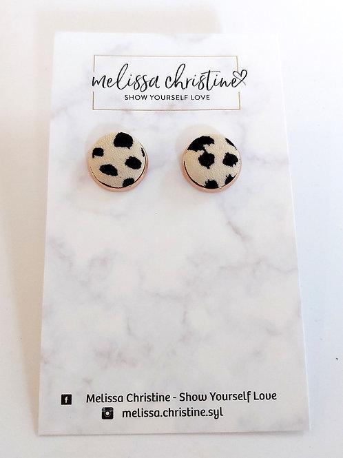 Leopard Print Raw Fabric Stud Earrings