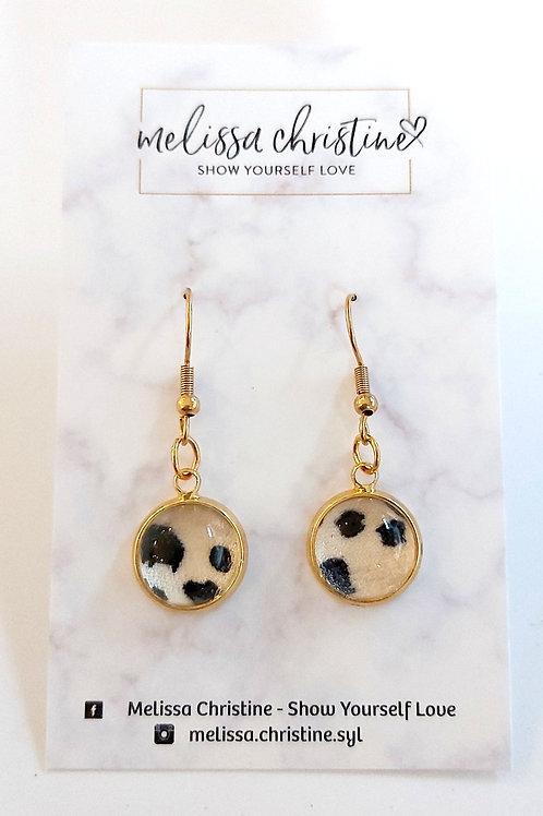 Leopard Print Cabochon Dangle Earrings