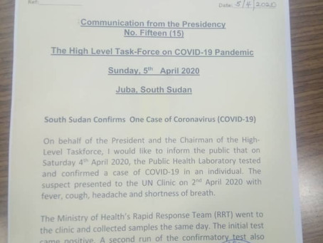 South Sudan Reports First CVID-19 Case 05.04.2020