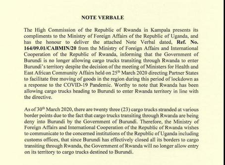 Burunidi Bans Cargo Trucks Transiting Through Rwanda, Rwanda Does the Same