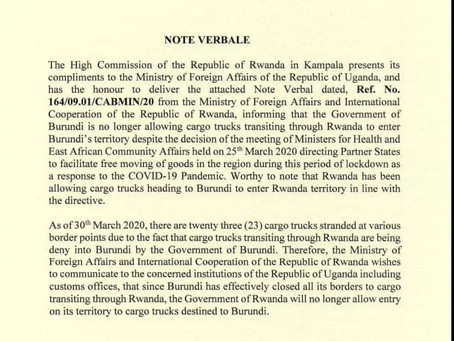 Burunidi Bans Cargo Trucks Transiting Through Rwanda, Rwanda Does the Same