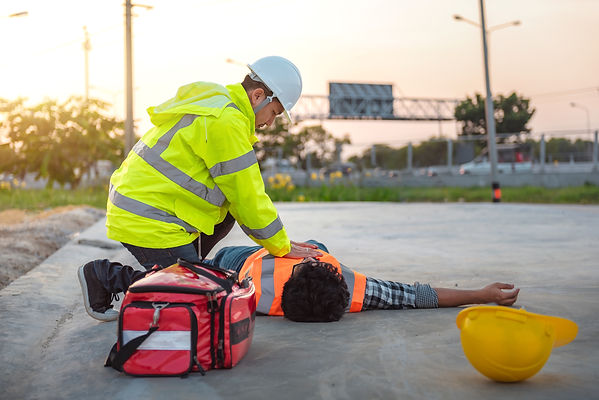 Accident at work of construction labor people, Basic First aid and CPR Training at outdoor