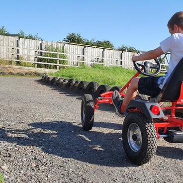 The pedal go-kart track is fun for all ages