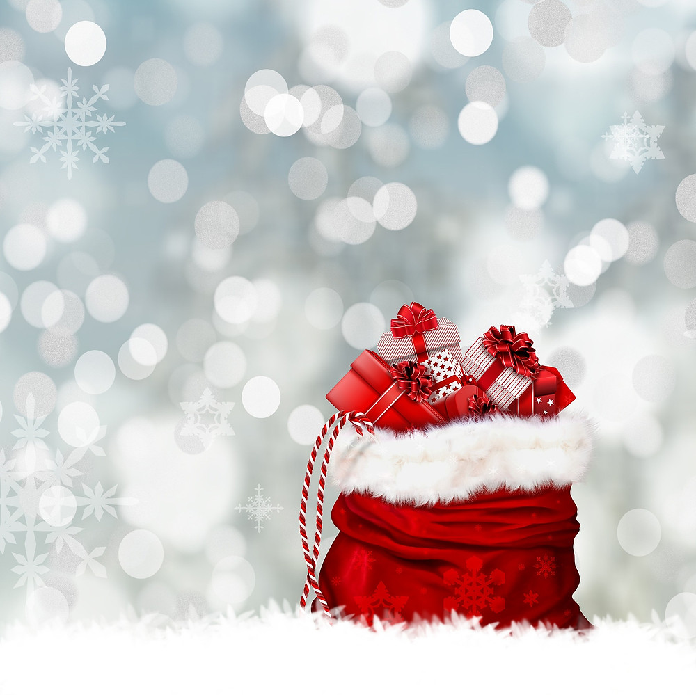 holiday bag filled with gifts