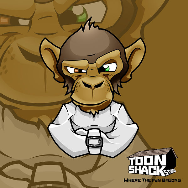 Cheeky, crazy monkey mascot character (stock image) designed by Toon Shack Studio
