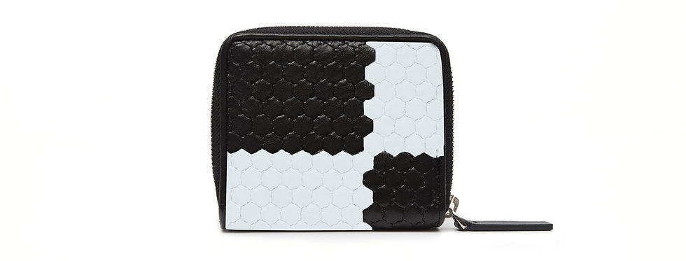 "Atelier_Micro Round Zip Wallet ""Ichimatsu-Black/ White"""