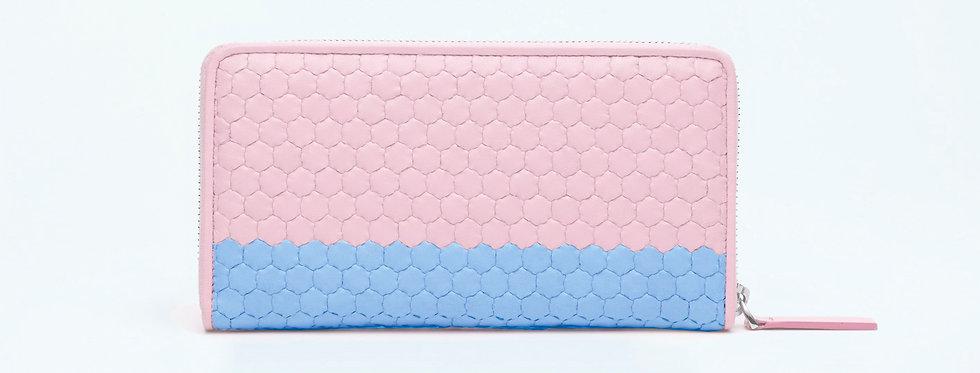 """Atelier_Round Zip Wallet """"Border-Pink/ Baby Blue"""