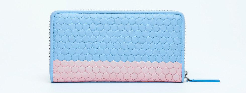 """Atelier_Round Zip Wallet """"Border-Baby Blue/ Pink"""""""