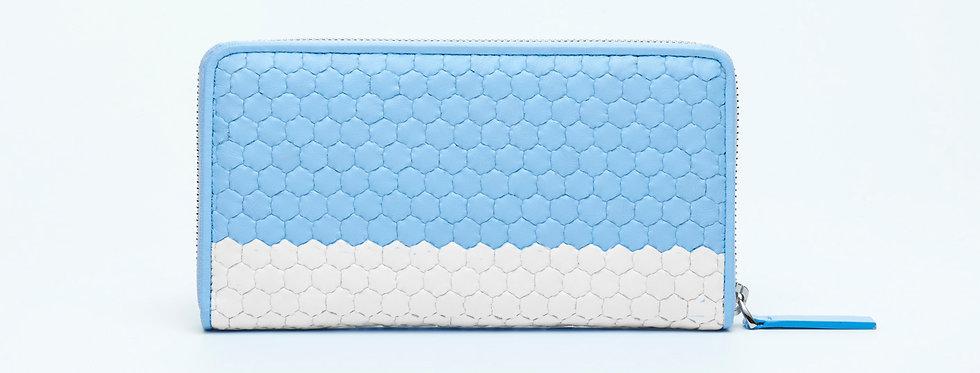 """Atelier_Round Zip Wallet """"Border-Baby Blue/ White"""""""