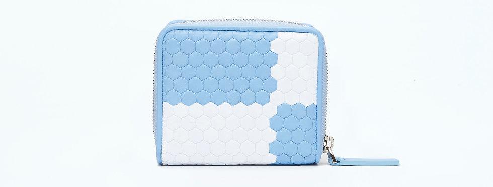 "Atelier_Micro Round Zip Wallet ""Ichimatsu-Baby Blue/ White"""