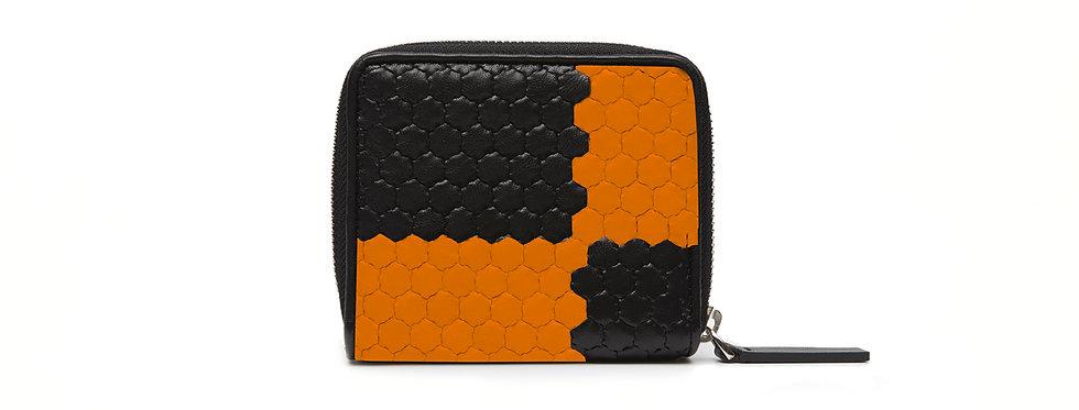 """Atelier_Micro Round Zip Wallet """"Ichimatsu-Black/ Orange"""""""