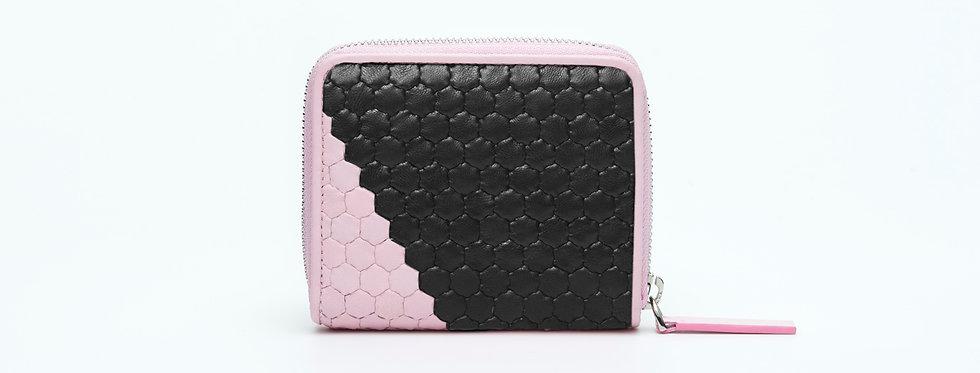 "Atelier_Micro Round Zip Wallet ""Slant-Pink/ Black"""