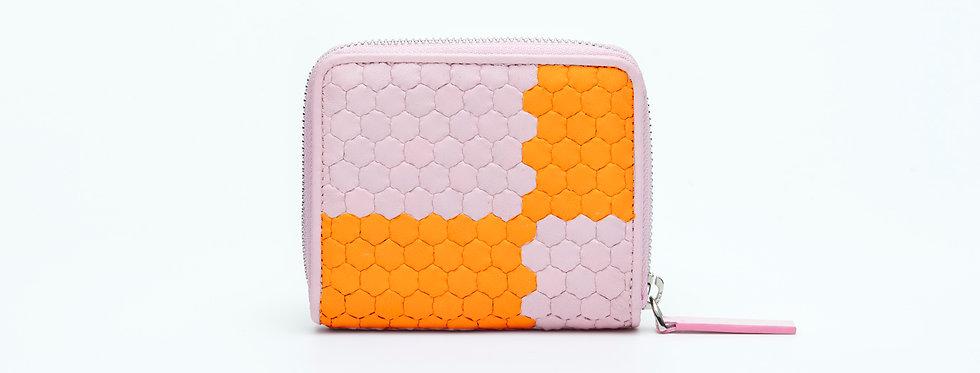 """Atelier_Micro Round Zip Wallet """"Ichimatsu-Pink/ Orange"""""""
