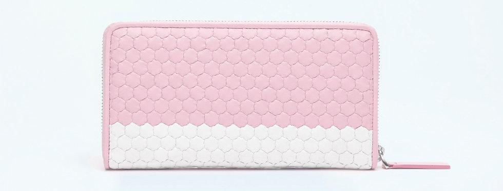 """Atelier_Round Zip Wallet """"Border-Pink/ White"""""""