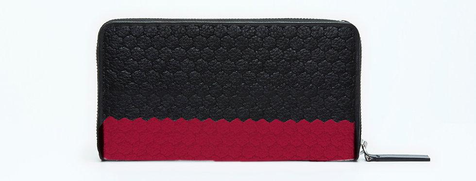 "Atelier_Round Zip Wallet/ Steer leather ""Border-Black/ Red"""