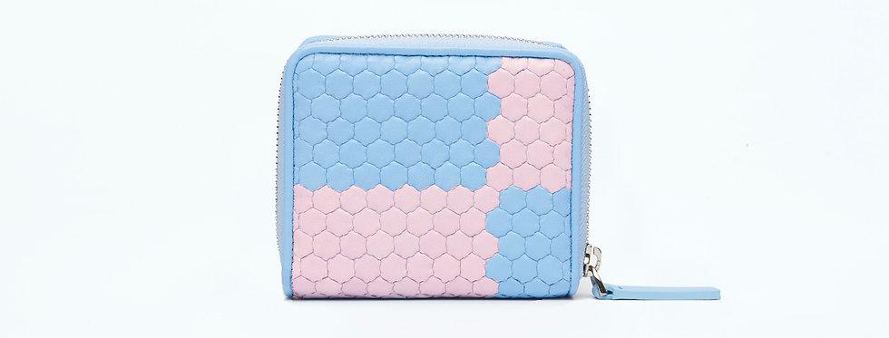 """Atelier_Micro Round Zip Wallet """"Ichimatsu-Baby Blue/ Pink"""""""