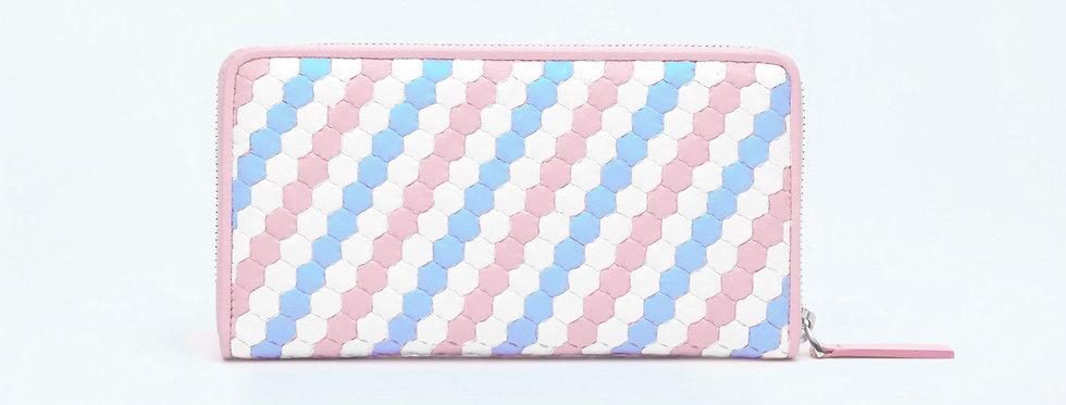 """Atelier_Round Zip Wallet """"Spectrum-Pink/ White/ Baby Blue"""""""